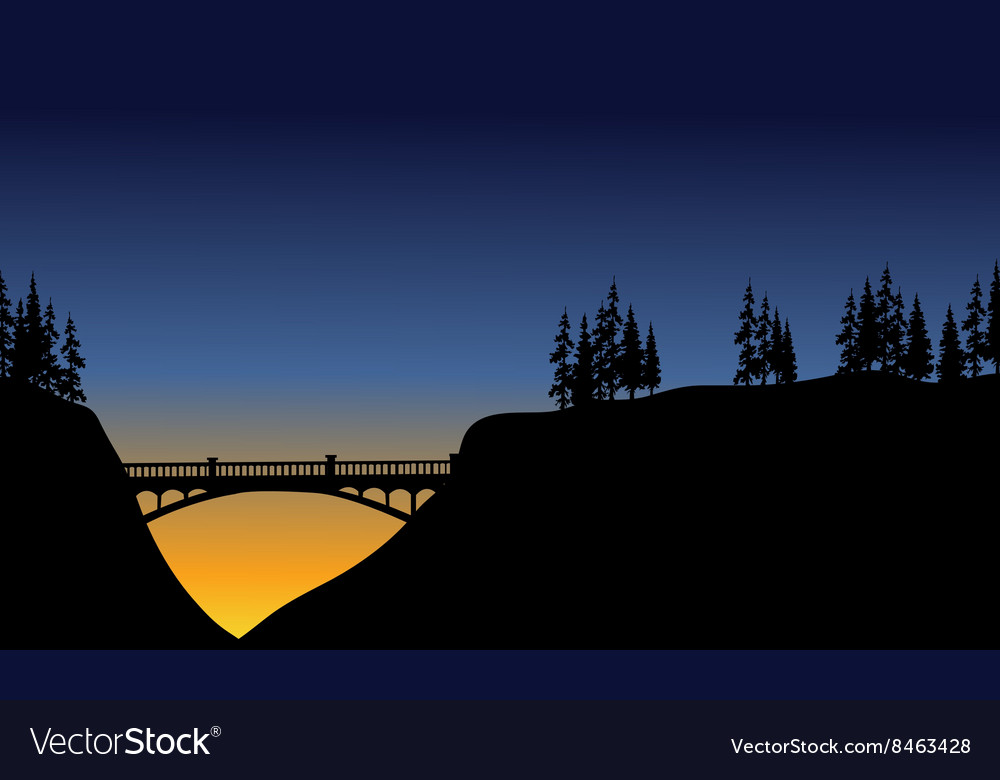 Bridge in cliff scenery vector