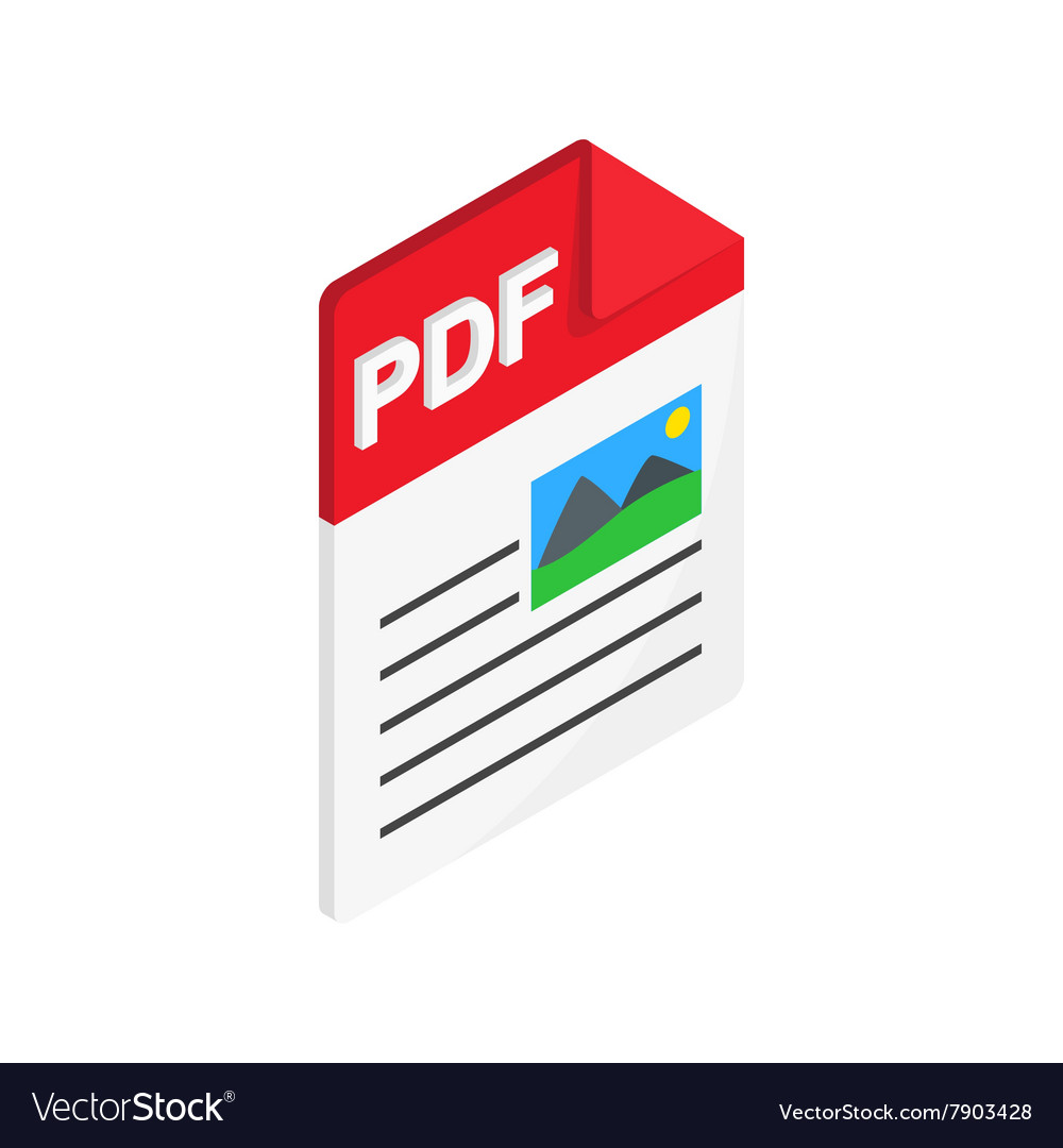 Pdf file icon isometric 3d style vector