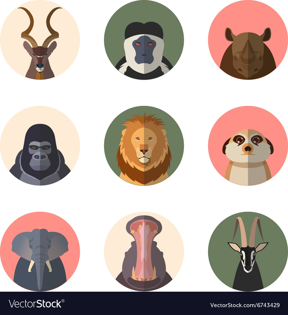 African animal round flat icons vector