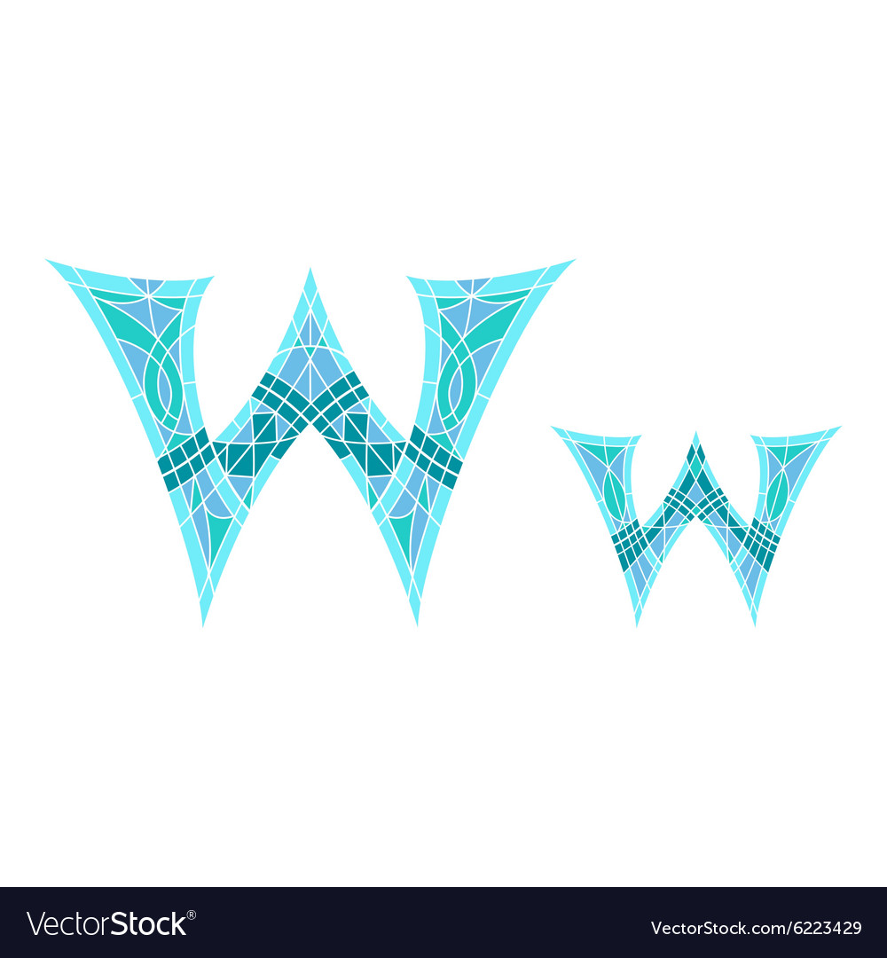 Low poly letter w in blue mosaic polygon vector