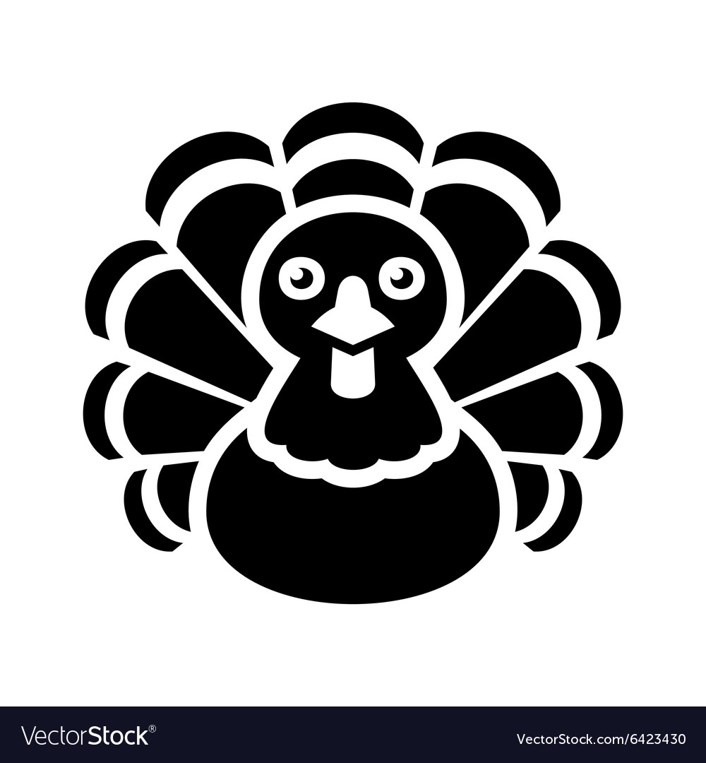 Turkey thanksgiving icon on white background vector