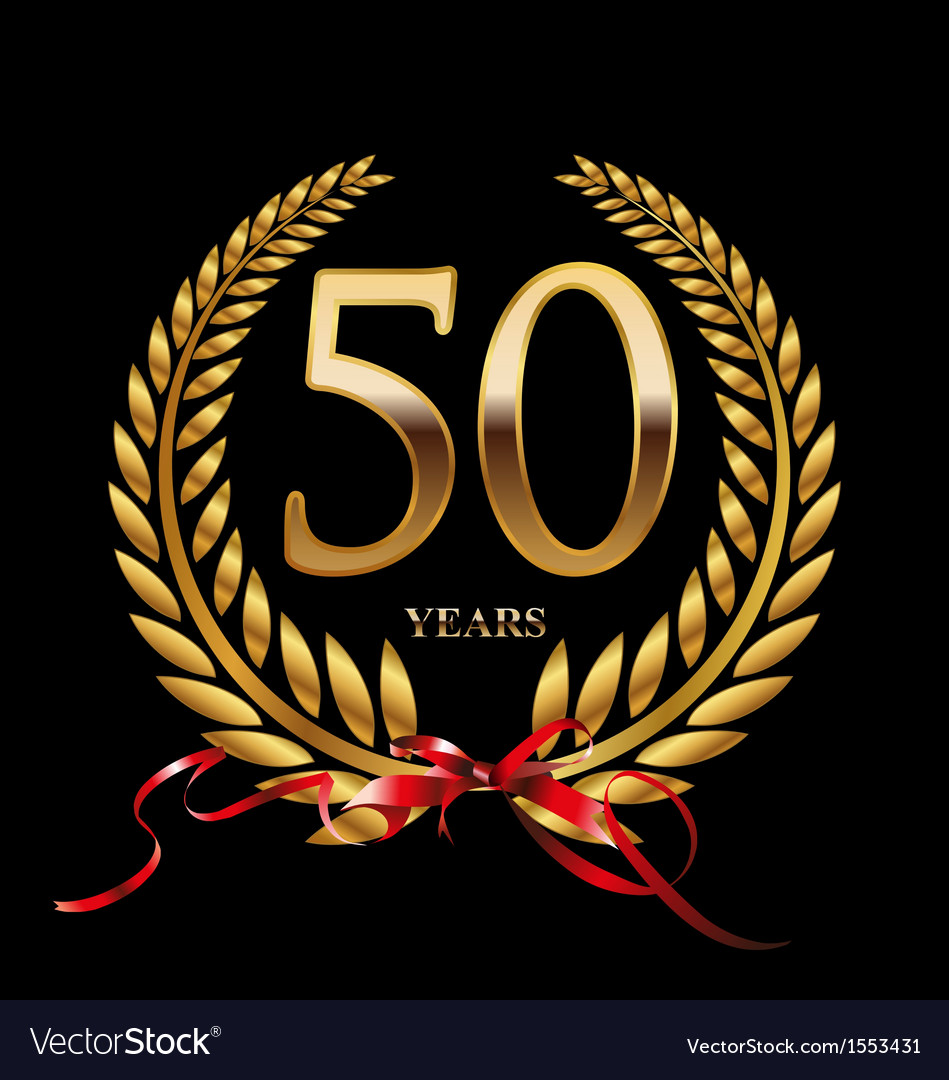 50 years anniversary laurel wreath vector