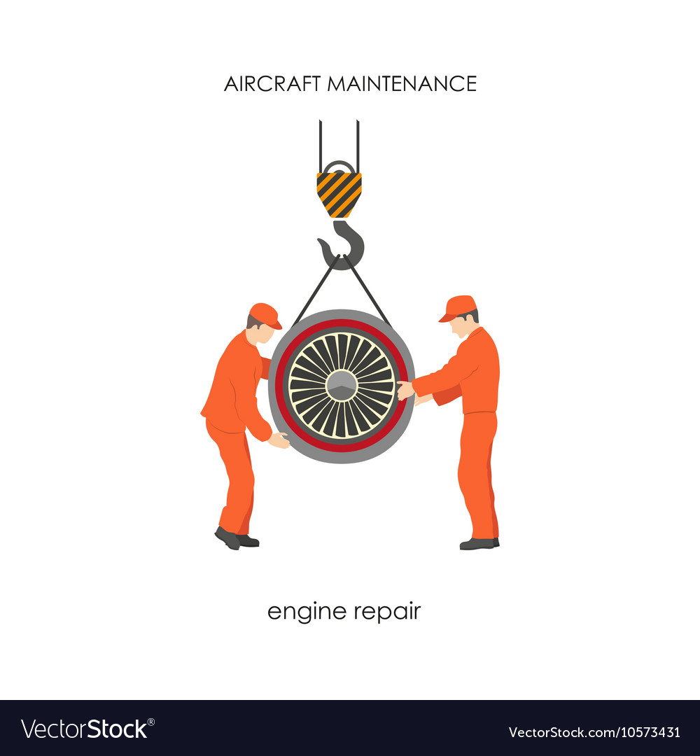 Workers raised the aircraft engine on a lift vector