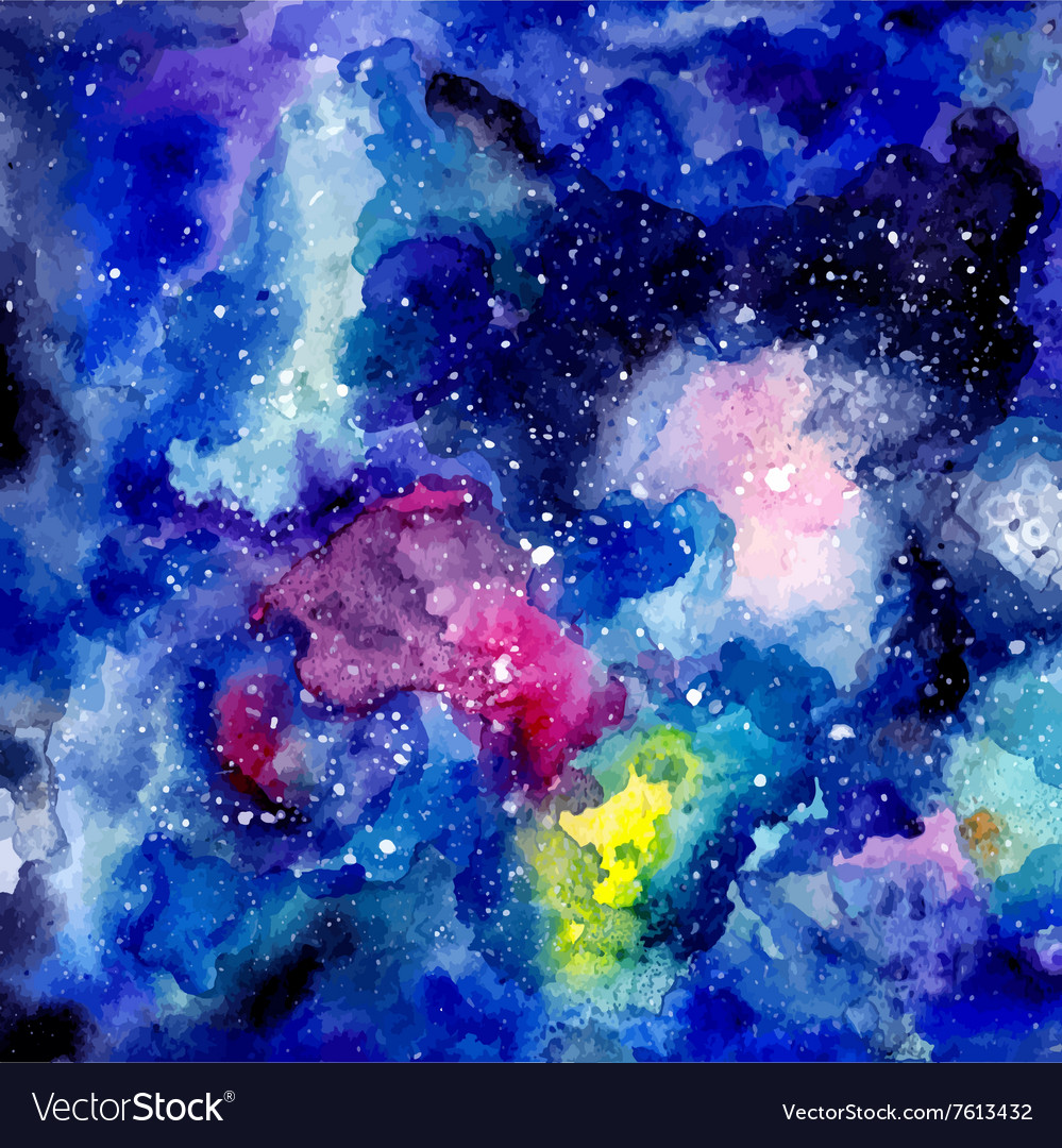 Cosmic watercolor background vector