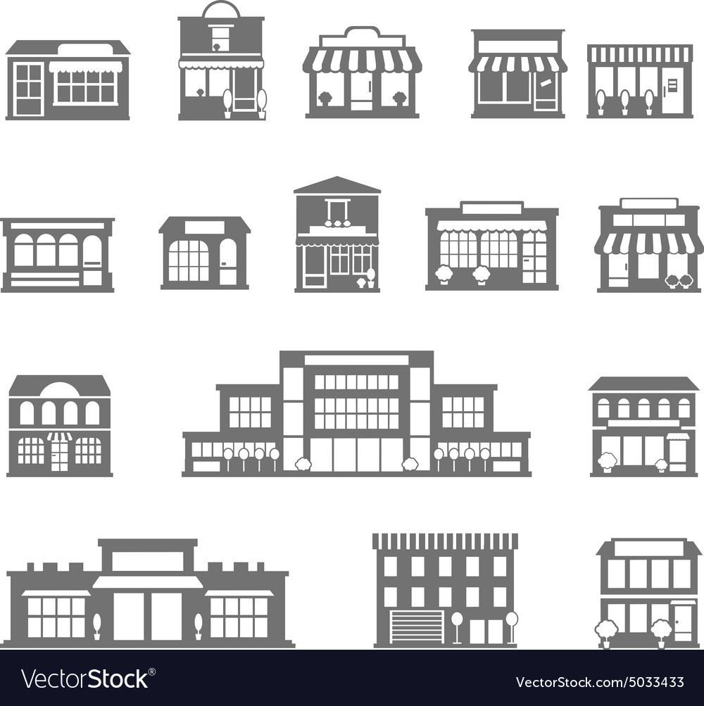 Stores and malls black white icons set vector
