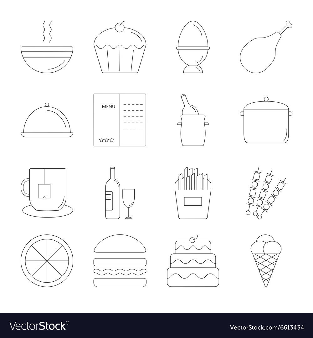 Food line icon set vector