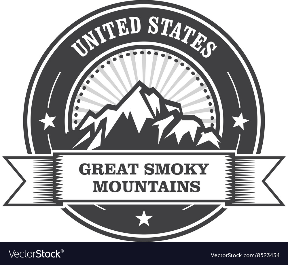 Great smoky mountains stamp  label with ribbon vector