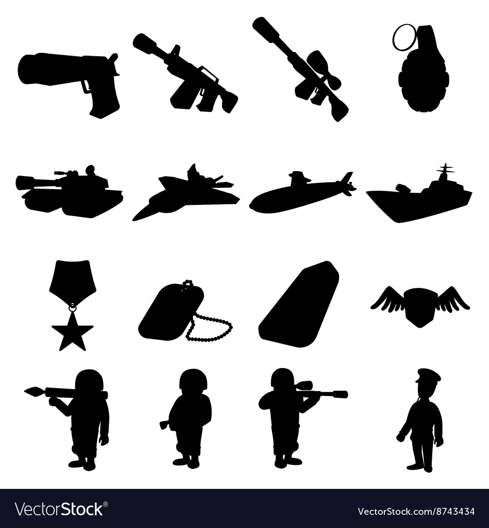 Military and war silhouettes icons set vector