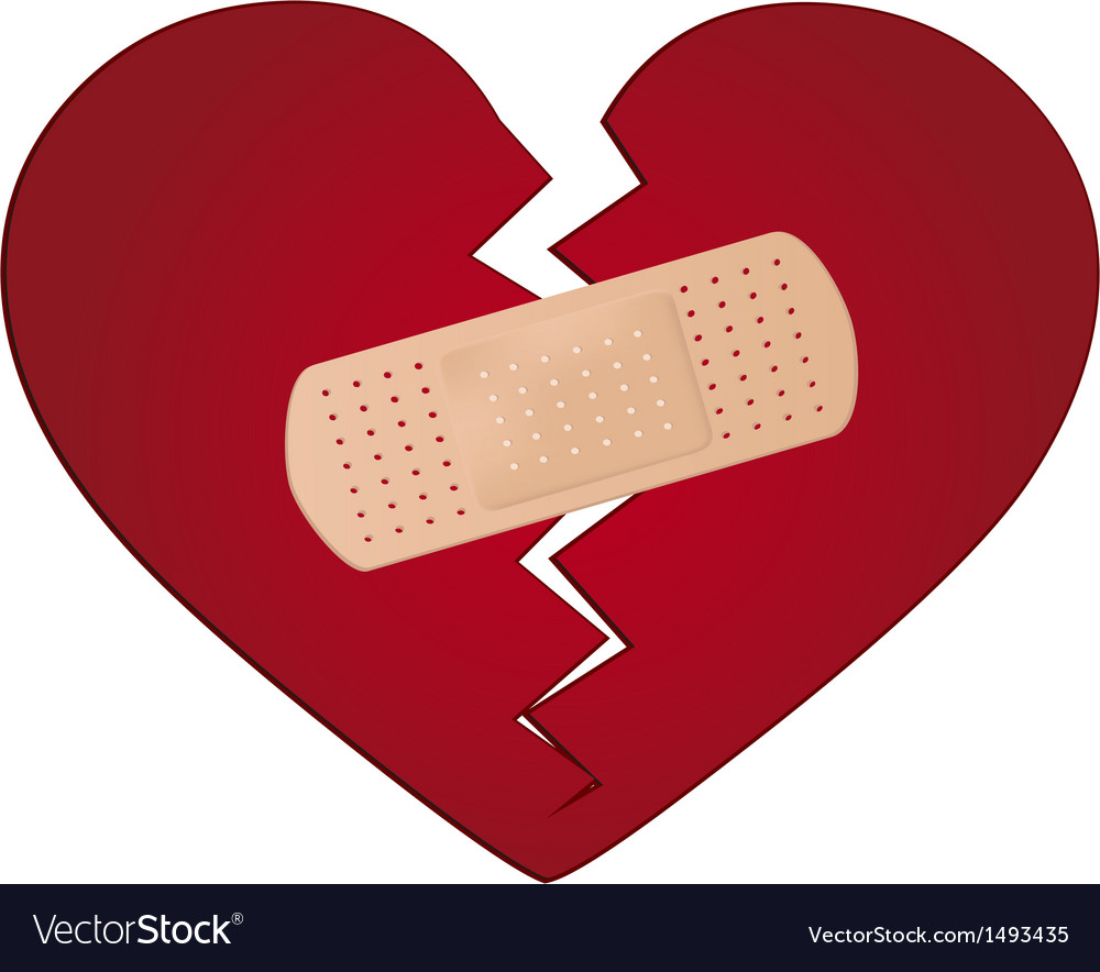 Fix a broken heart concept vector