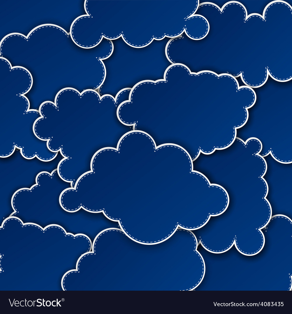 Paper dark blue paper cloud background vector