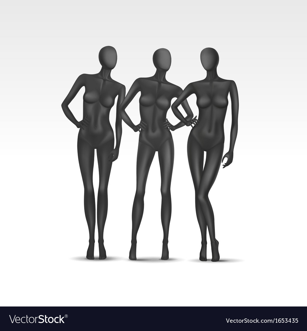 Set of isolated female mannequins vector