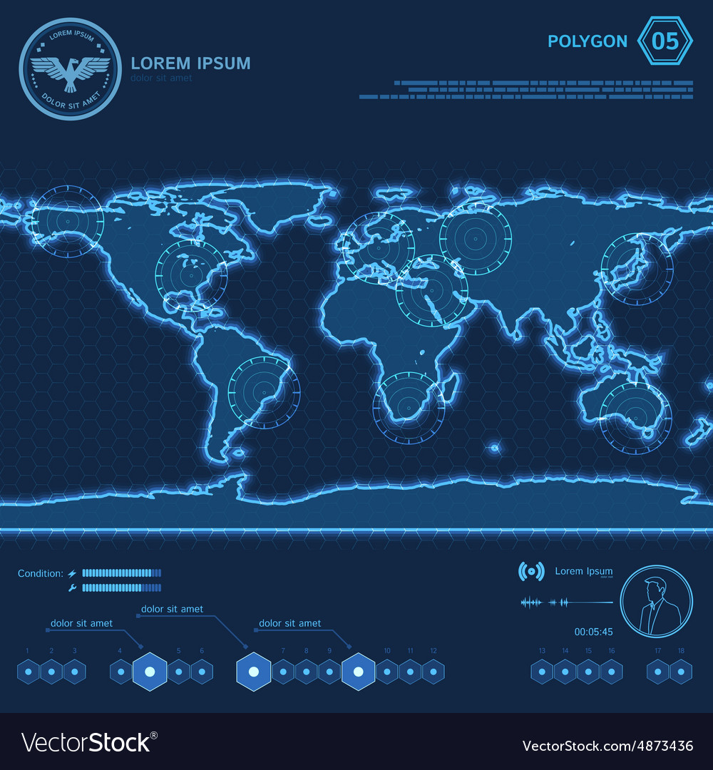 Blue polygon world map hud screen vector