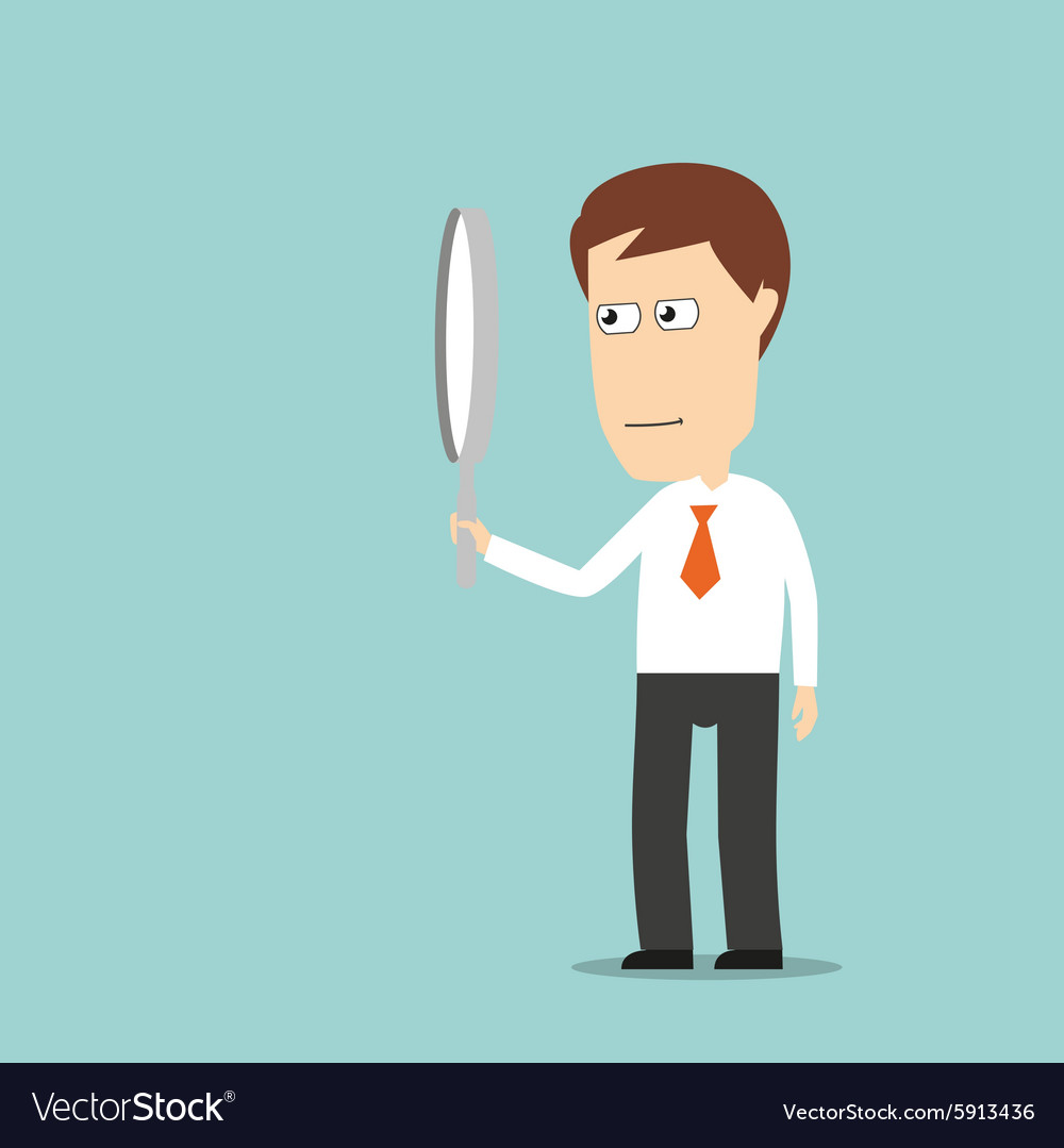 Businessman looking through magnifying glass vector