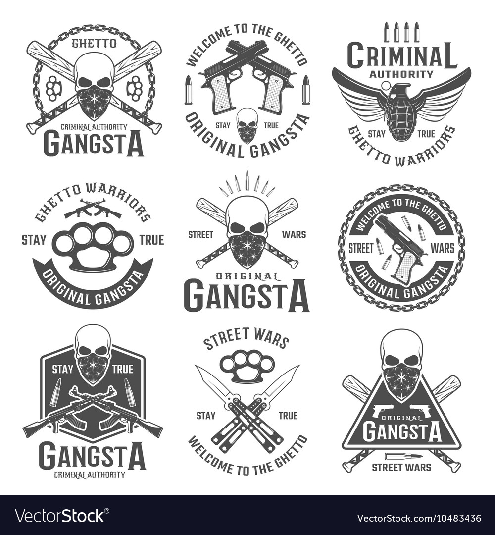 Gangster black white emblems vector