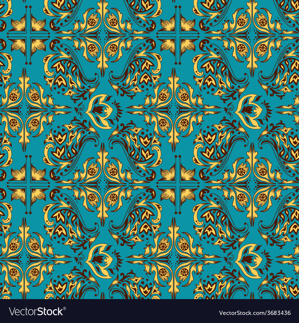 Turquoise arabic pattern vector