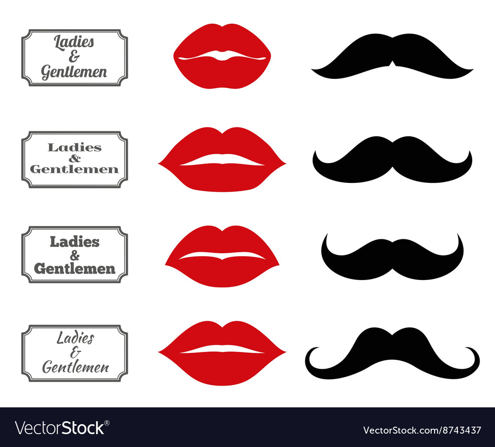 Ladies and gentlemen bathroom symbols lips vector