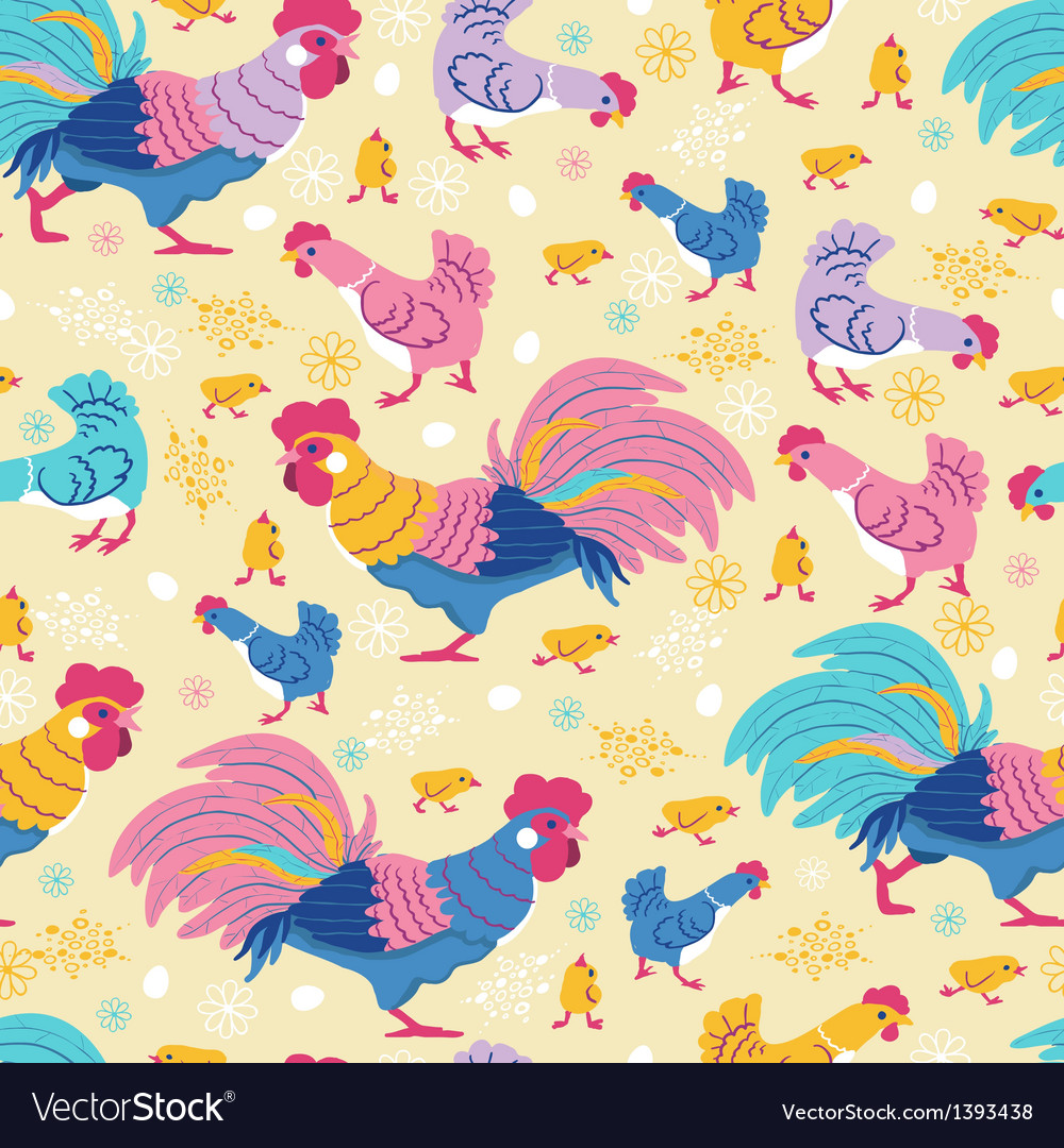 Fun chickens seamless pattern background vector