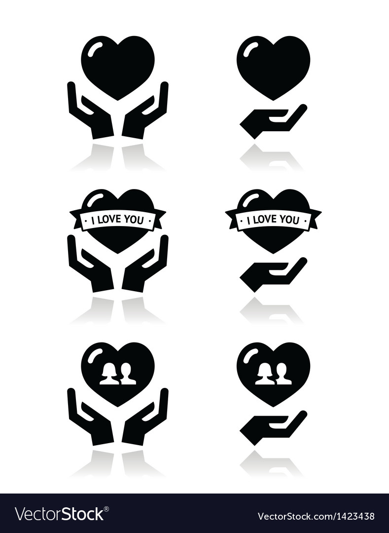 Hands with heart love relationship icons set vector