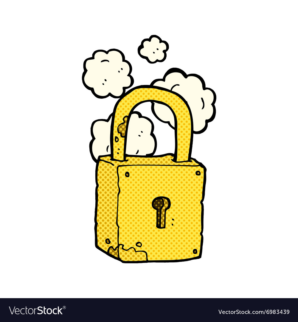 Comic cartoon rusty lock vector