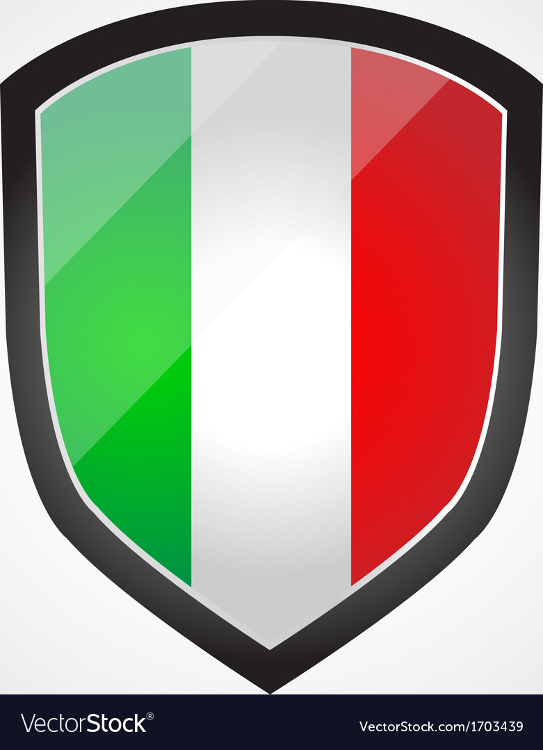 Shield with flag inside  italy  vector