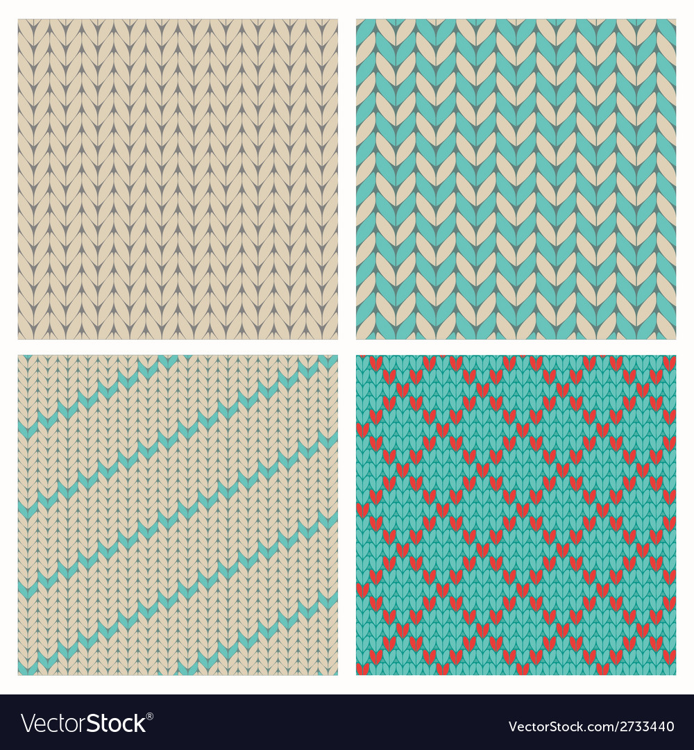 Set of seamless knitting patterns vector