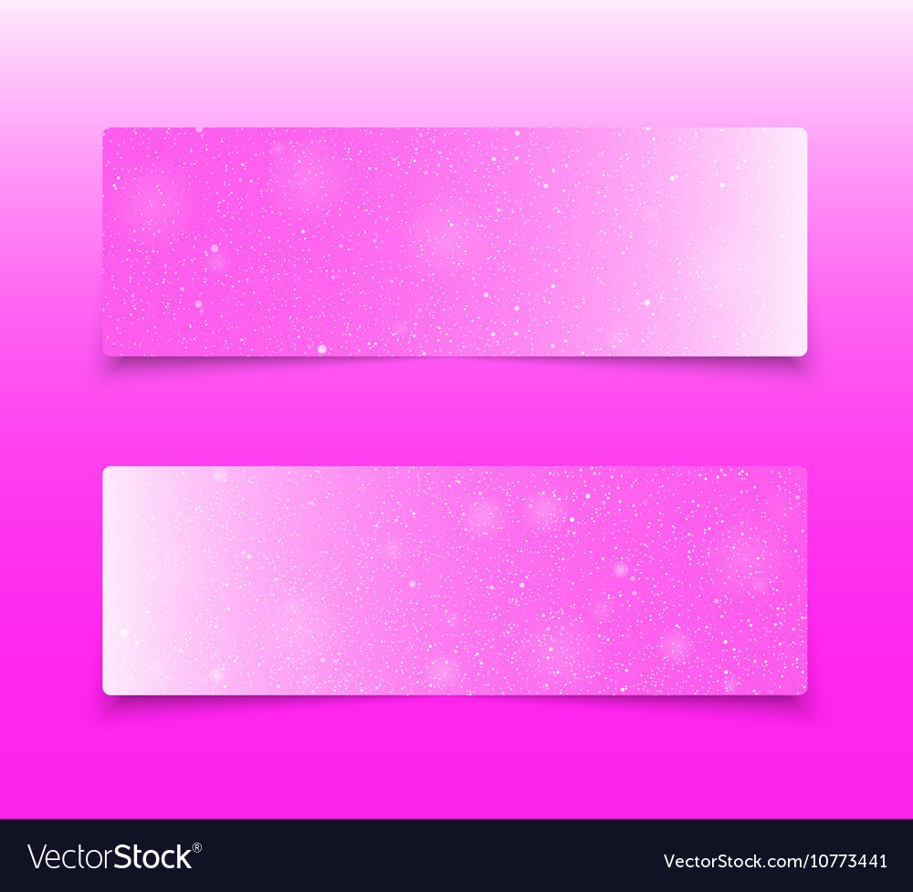 Horizontal pink rectangle banners snow winter vector