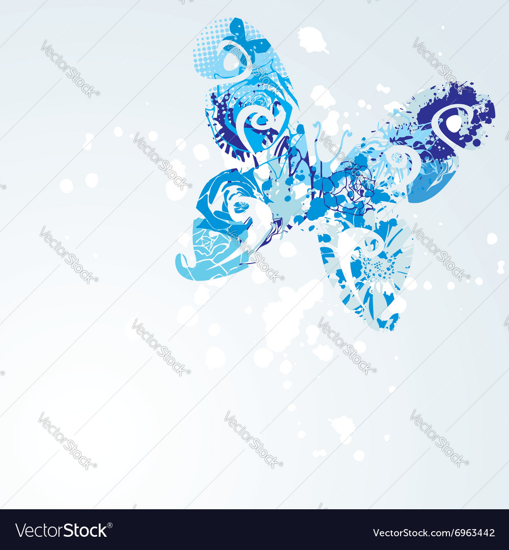 Blue butterfly on white background vector
