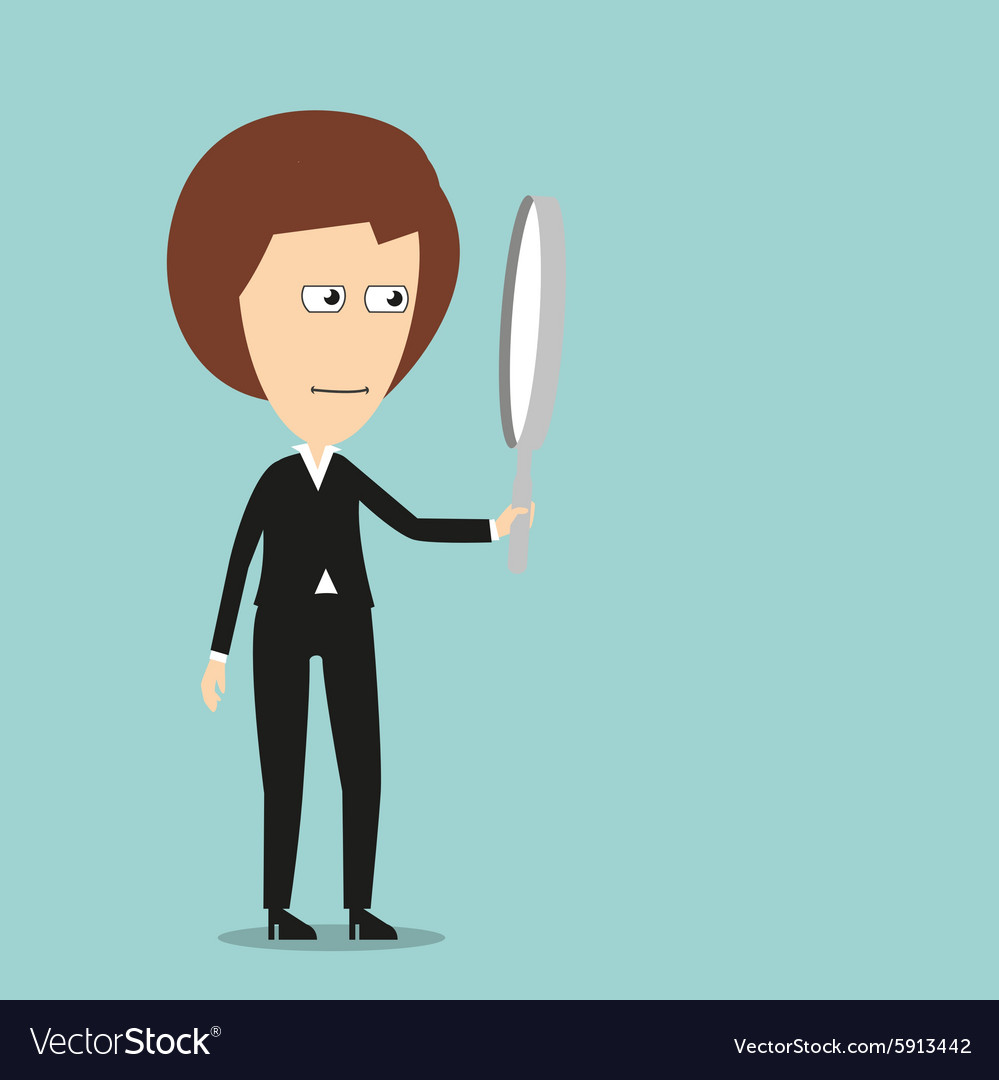 Business woman with magnifying glass vector