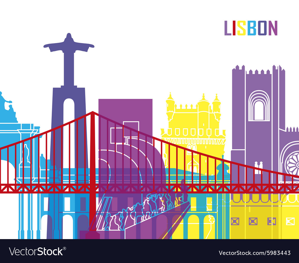 Lisbon skyline pop vector