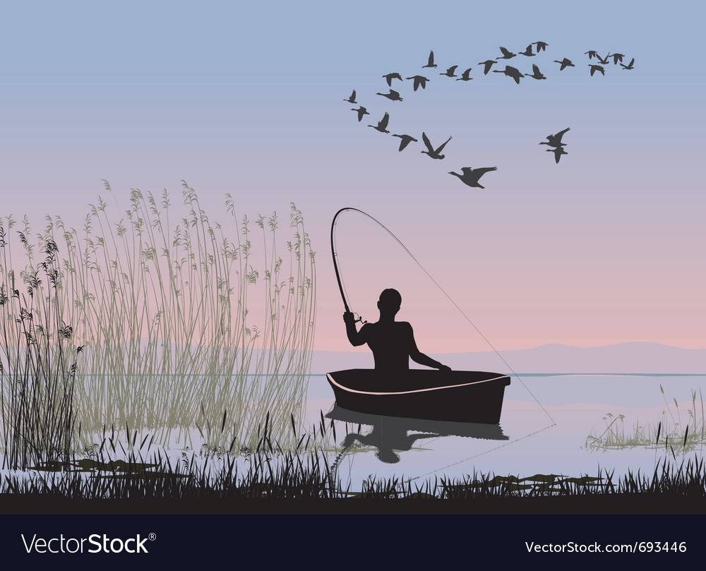 Angler on a boat vector