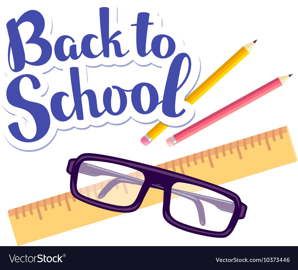 Colorful of inscription back to school with vector