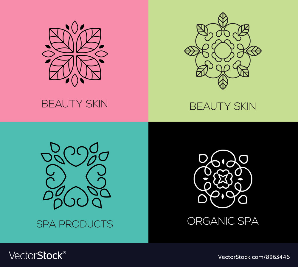 Set of abstract lineart linear simple design vector
