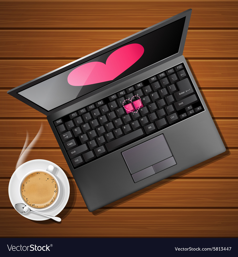 Heart shape on laptop screen with hot cappuccino vector