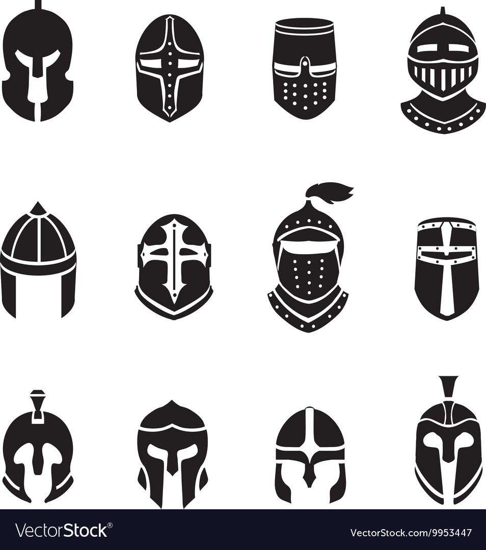 Warrior helmets black icons or logos set knight vector