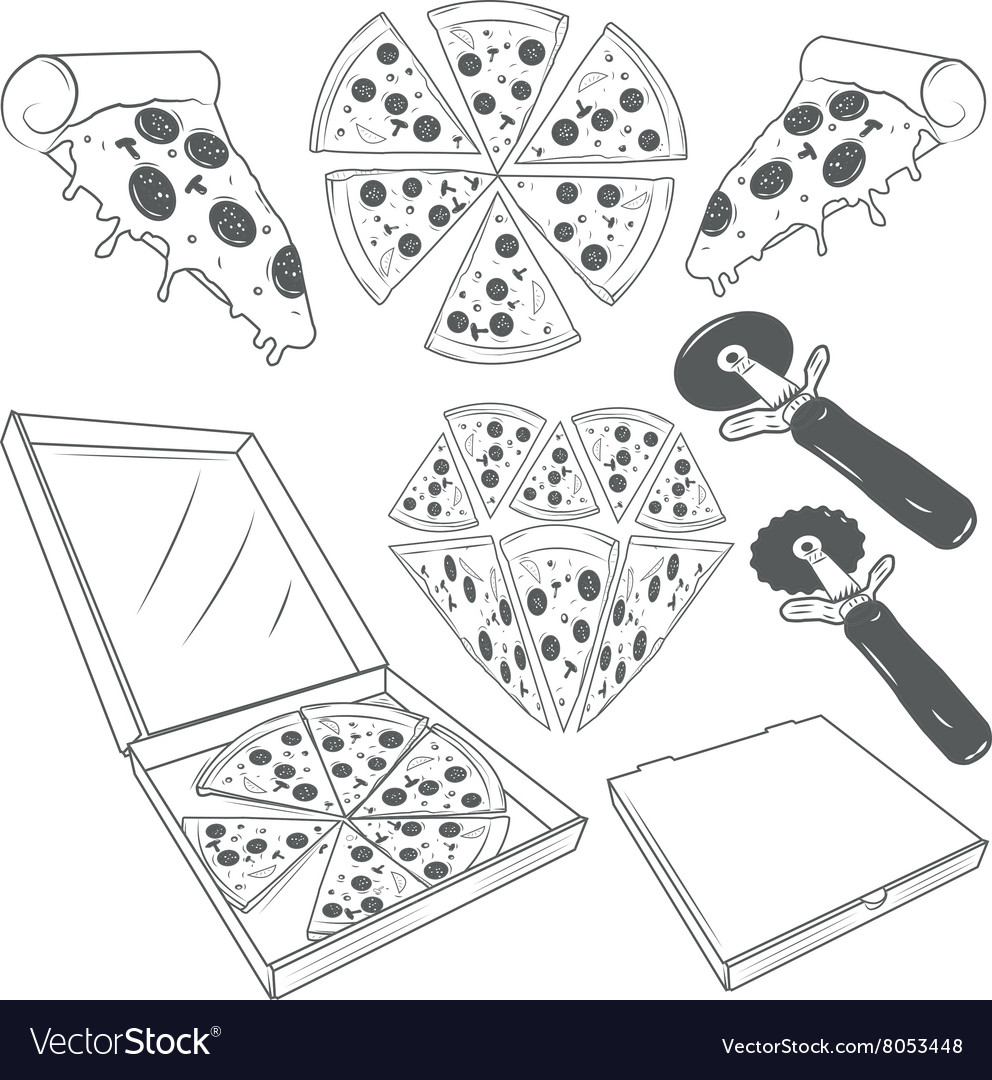 Hand drawn pizza slices set pizza labels vector