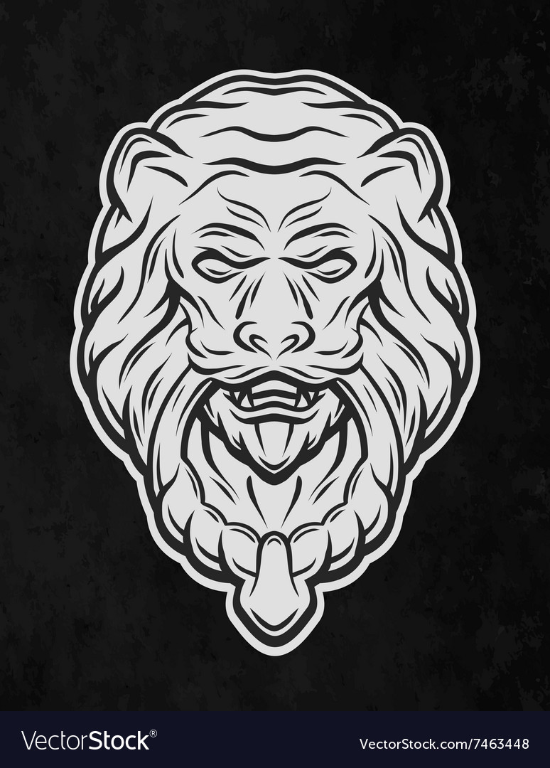 Lion head door on a dark background vector