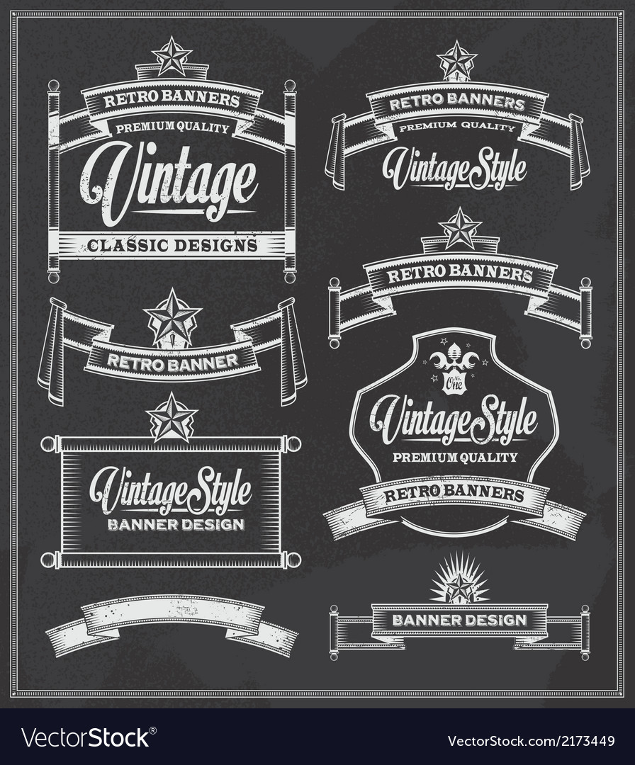 Retro vintage banners and frames chalkboard design vector