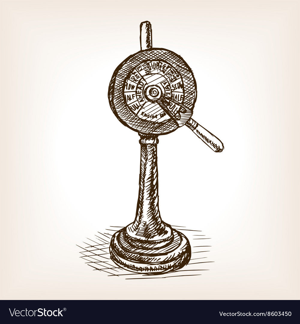 Engine order telegraph sketch style vector