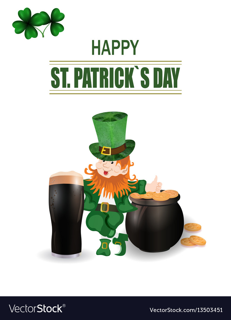 A glass of dark beer leprechaun in green hat two vector