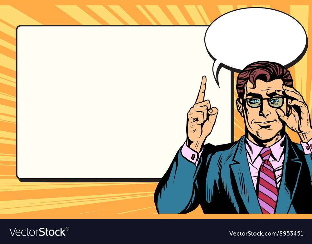 Pop art businessman with frame for text vector