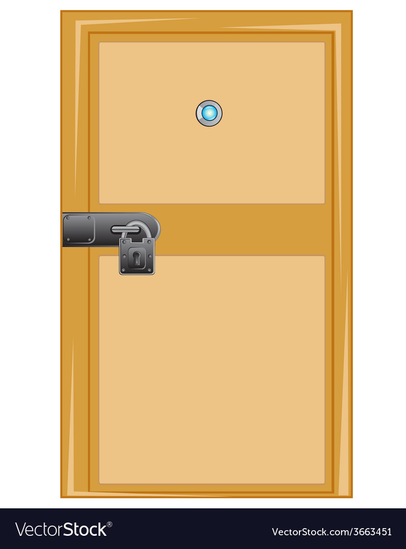 Wooden door with external lock vector
