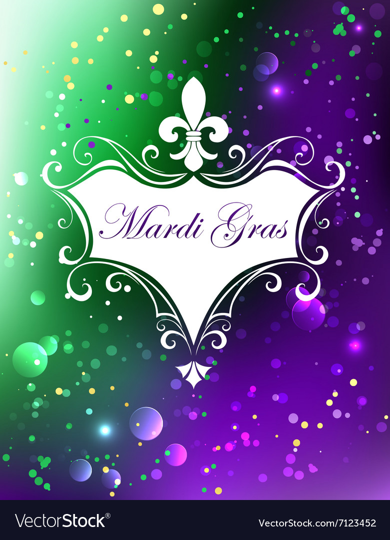 White banner with mardi gras vector