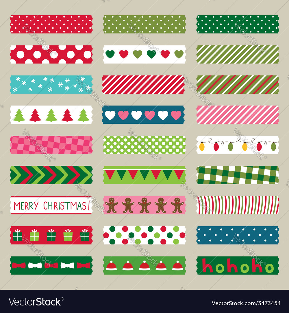 Christmas washi tape pieces set vector