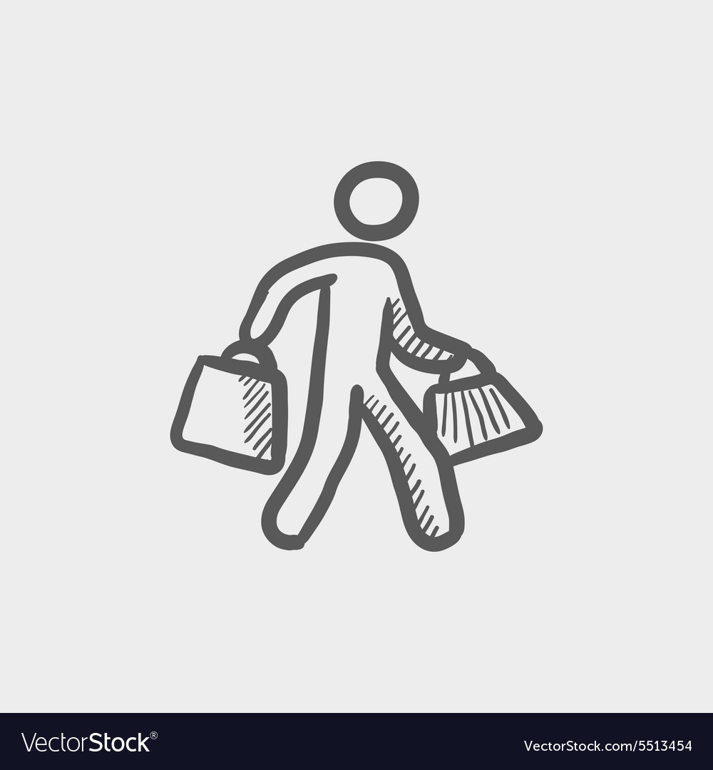 Man carrying shopping bags sktech icon vector