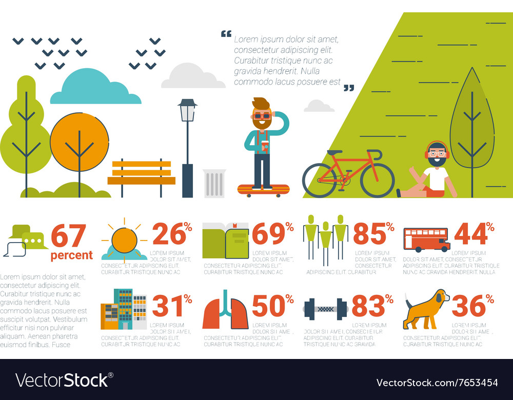 Park concept infographic icons and elements vector
