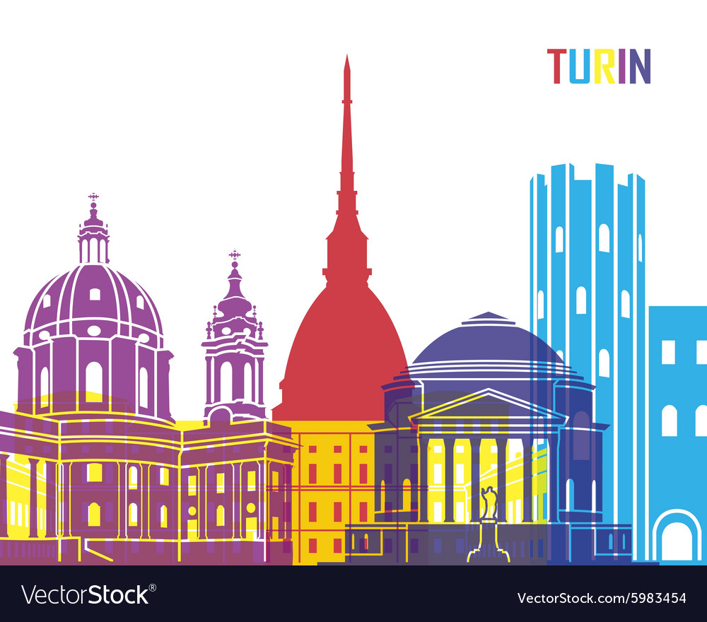 Turin skyline pop vector