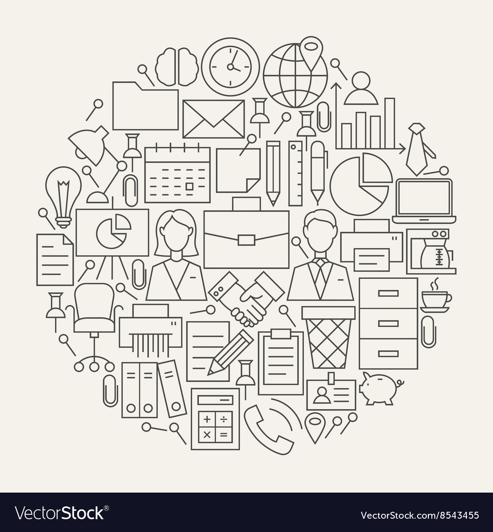 Business office line icons set circle shape vector