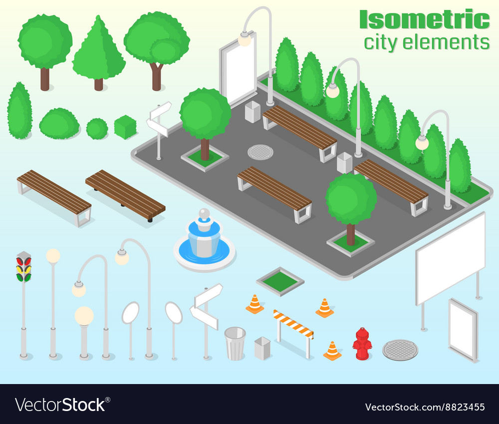 Isometric city elements set vector