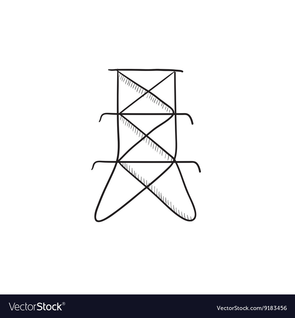 Electric tower sketch icon vector