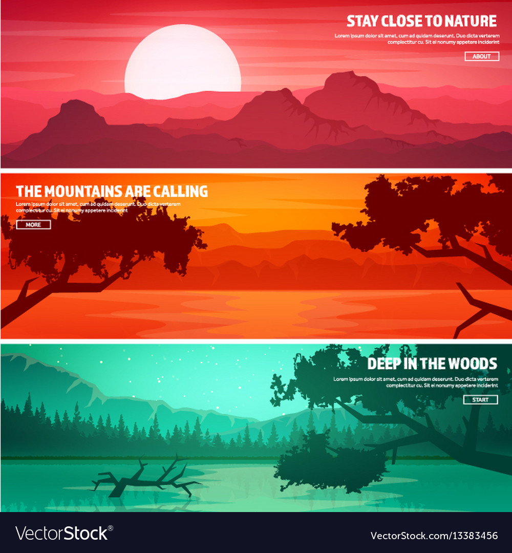 Mountains and forest wild nature landscape vector